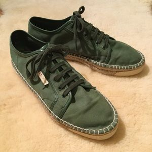 Gucci men's green canvas espadrille sneakers